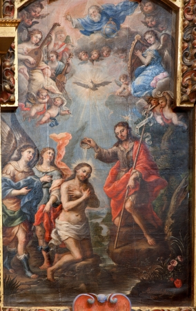 TOLEDO - MARCH 8: Baptism of Christ paint from church Iglesia de san Idefonso by Alonso del Arco from year 1702 on March 8, 2013 in Toledo, Spain.
