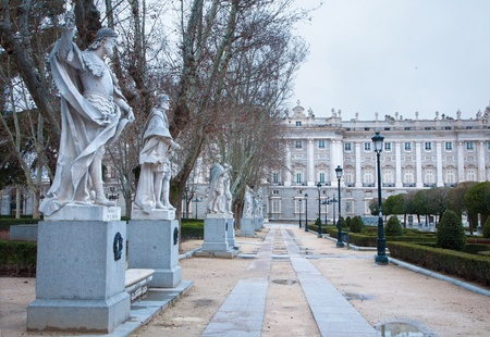 Madrid - The statues (19. cent.) depict Roman, Visigoth and Christian rulers from Plaza de Oriente in morning