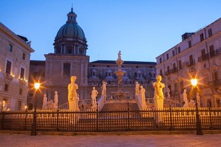 Palermo - Florentine fountain on Piazza Pretoria at dusk