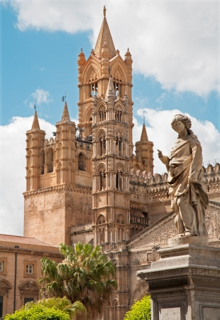 Palermo - Towers of Cathedral or Duomo and statue of Nymph