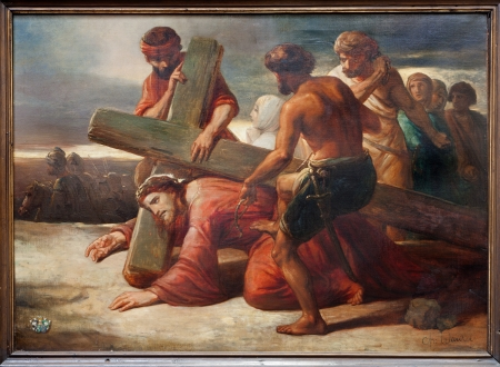 BRUSSELS - JUNE 21: The First Fall of Jesus on the cross way. Paint from church Notre Dame du Finstere by C. A. Wauters from  19. cent. on June 21, 2012 in Brussels. Stock Photo - 20844141