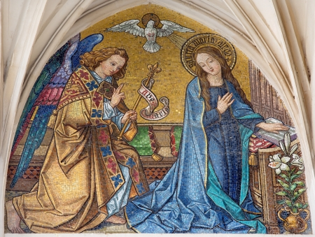VIENNA - JULY 3: Mosaic of Annunciation from main portal of gothic church Maria am Gestade on July 3, 2013 Vienna.