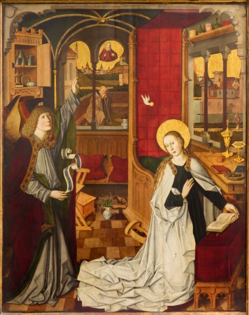 VIENNA - JULY 3:  Annunciation scene in the nave of the church dates from about 1360 and is attributed to the Meister der Minoriten work room on July 3, 2013 Vienna. Stock Photo - 21519513
