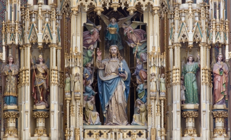 neo gothic: VIENNA - JULY 3: Jesus Christ as king of world statue from wooden main neo gothic altar by Andreas Halbig from years 1856 - 1870 in Augustnierkirche or Augustinus chuch on July 3, 2013 Vienna.