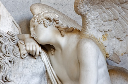 christine: VIENNA - JULY 3: Detail of angel from tomb of Marie Christine daughter of Maria Theresia from years 1798 - 1805 by Antonio Canova in Augustnierkirche or Augustinus chuch on July 3, 2013 Vienna. Editorial