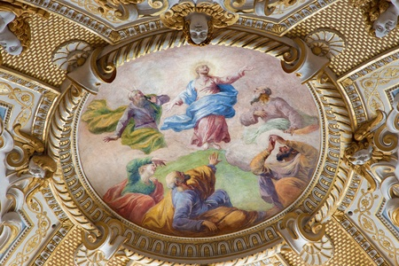 VIENNA - JULY 3: Baroque fresco of Transfiguration of the Lord from ceiling in Michaelerkirche or st. Michael chuch on July 3, 2013 Vienna.