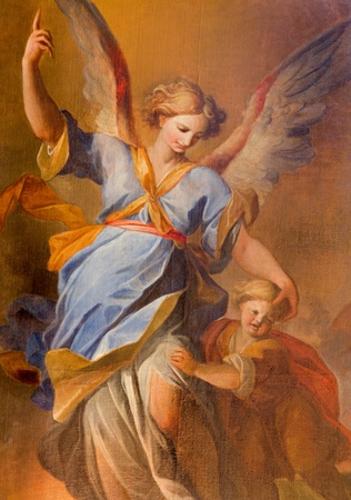 ange gardien: VIENNE - 3 juillet: L'ange gardien avec de la peinture des enfants � partir de l'autel lat�ral de l'�glise des J�suites baroque de 18 ans. cent. le 3 Juillet 2013 � Vienne. �ditoriale