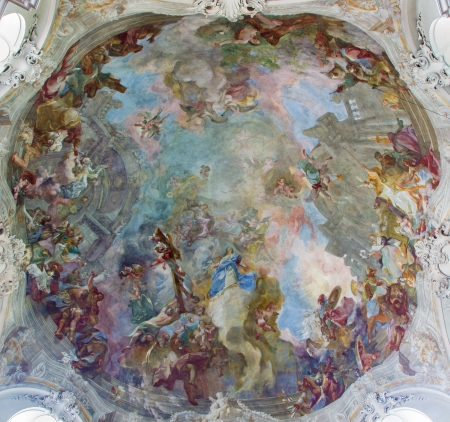 franz: VIENNA - JULY 27: Fresco of Assumption of Holy Mary from cupola of Baroque church Maria Treu from year 1752 - 1753 by  Franz Anton Maulbertsch on July 27, 2013 Vienna. Editorial