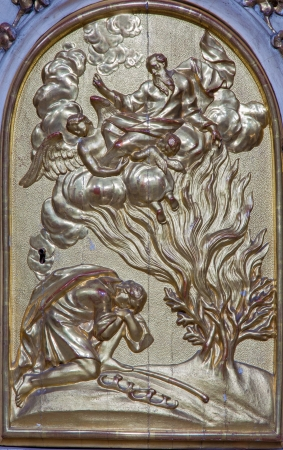 burning bush: VIENNA - JULY 27: Relief of Moses and burning bush from tabernacle of side altar in church Maria Treu from 18. cent.  on July 27, 2013 Vienna. Editorial