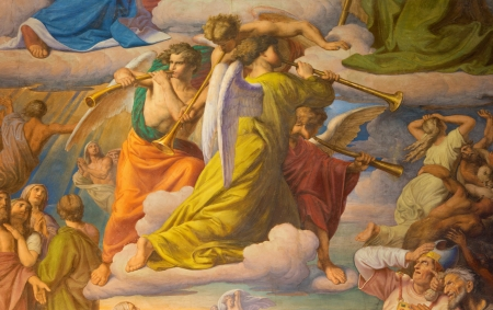 leopold: VIENNA - JULY 27:  Angels with the trumps. Detail of fresco of Last judgment scene by Leopold Kupelwieser from 1860 in nave of Altlerchenfelder church on July 27, 2013 Vienna. Editorial