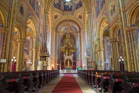 nave: VIENNA - JULY 27: Nave of Altlerchenfelder church with the lot of frescoes sacred in year 1861 on July 27, 2013 Vienna.