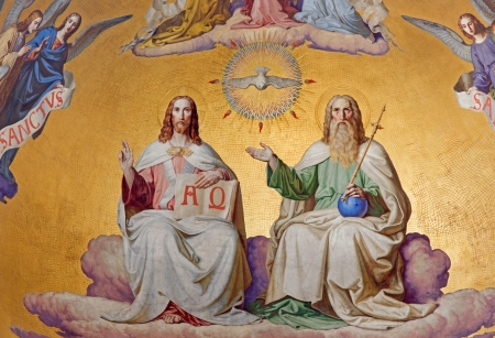 VIENNA - JULY 27:  Holy Trinity. Detail from fresco of scene from apocalypse from 19. cent. in main apse of Altlerchenfelder church on July 27, 2013 Vienna. Stock Photo - 21519592