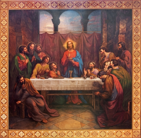 VIENNA - JULY 27: Fresco of Last supper of Christ by Leopold Kupelwieser from 1889 in nave of Altlerchenfelder church on July 27, 2013 Vienna. 에디토리얼