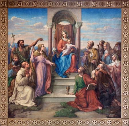 VIENNA - JULY 27:  Fresco of Madonna of Vienna  by Leopold Kupelwieser from 1858 in nave of Altlerchenfelder church on July 27, 2013 Vienna.