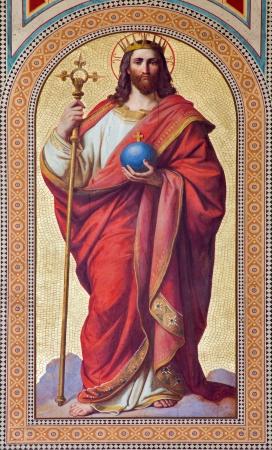 VIENNA - JULY 27:  Fresco of  Jesus Christ as King of the World by Karl von Blaas from 19. cent. in nave of Altlerchenfelder church on July 27, 2013 Vienna.