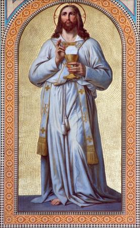 VIENNA - JULY 27:  Fresco of  Jesus Christ as the Priest by Karl von Blaas from 19. cent. in nave of Altlerchenfelder church on July 27, 2013 Vienna. Editoriali