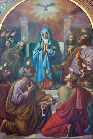 VIENNA - JULY 27: Fresco of Pentecost scene from 19. cent. by Carl Mayer in Altlerchenfelder church on July 27, 2013 Vienna.