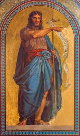 precursor: VIENNA - JULY 27: Fresco of Noah by Eduard Engerth from year 1857 in Altlerchenfelder church on July 27, 2013 Vienna.