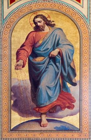 비엔나 - 7 월 27 일 :. 프레스코 19 센트 칼 폰 Blaas으로 신약의 비유에서 씨를 뿌리는 사람 예수 그리스도의. 2013년 7월 27일 비엔나에 Altlerchenfelder 교회