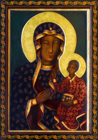 VIENNA - JULY 27: Icon of black Madonna from side altar of Altlerchenfelder church from 19. cent. on July 27, 2013 Vienna.