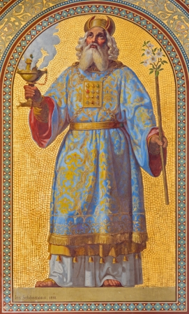 VIENNA - JULY 27:  Fresco of high priest Aron by Joseph Schonman from year 1858 in Altlerchenfelder church on July 27, 2013 Vienna.