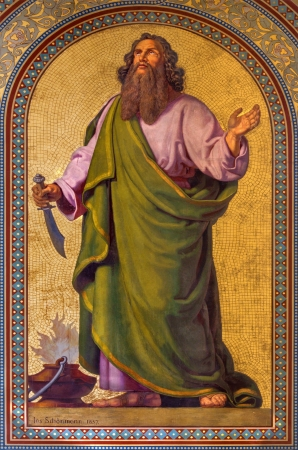 VIENNA - JULY 27:  Fresco of Abraham by Joseph Schonman from year 1857 in Altlerchenfelder church on July 27, 2013 Vienna.