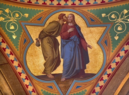 betray: VIENNA - JULY 27: Fresco of Judas betray Jesus with the kiss scene in side nave of Altlerchenfelder church from 19. cent. on July 27, 2013 Vienna. Editorial