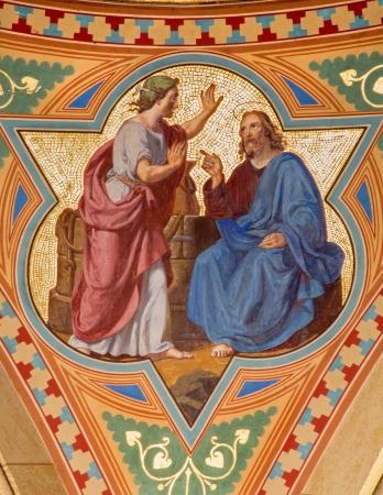 samaritans: VIENNA - JULY 27:  Fresco of Jesus and Samaritans at well in side nave of Altlerchenfelder church from 19. cent.  on July 27, 2013 Vienna.