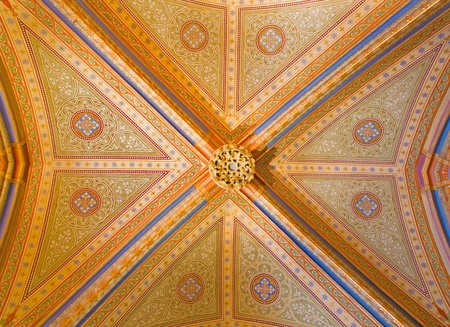 vestibule: VIENNA - JULY 27: Gothic ceiling with the frescoes from vestibule of monastery church in Klosterneuburg from 19. cent. on July 27, 2013 Vienna. Editorial