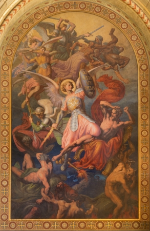 leopold: VIENNA - JULY 27: Archangel Michael and war with the bad angels scene by Leopold Kupelwieser from 1860 in nave of Altlerchenfelder church on July 27, 2013 Vienna. Editorial