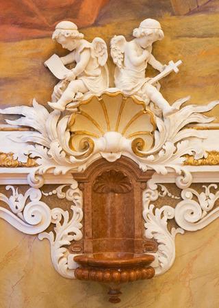 vestibule: VIENNA - JULY 27: Fresco of angels from vestibule of monastery church in Klosterneuburg from 19. cent.  on July 27, 2013 Vienna. Editorial