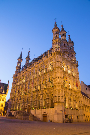 leuven: Leuven - Gothic town hall in evening dusk Stock Photo