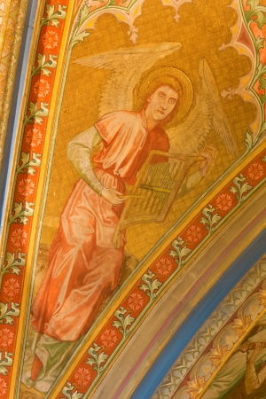 vestibule: VIENNA - JULY 27: Fresco of angel with the music instrument from vestibule of monastery church in Klosterneuburg from 19. cent. on July 27, 2013 Vienna. Editorial