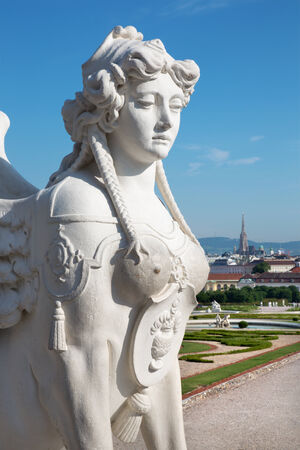 Vienna - sphinx for Belvedere palace in morning and the town photo