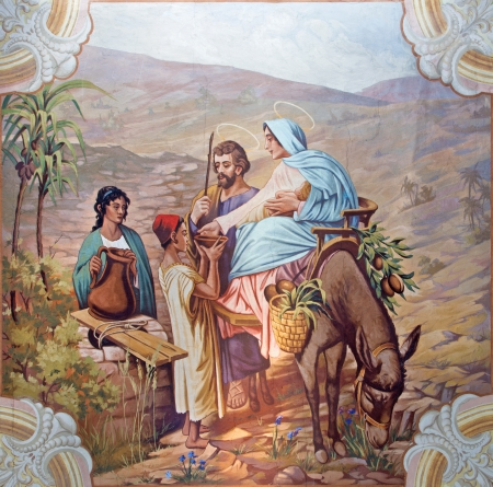 SEBECHLEBY - AUGUS 8: Flight to Egypt. Fresco from year 1963 by Jozef Antal in st. Michael parish church on August 8, 2013 in Sebechleby, Slovakia.