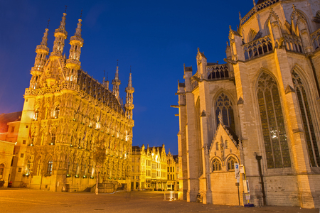 leuven: Leuven - Gothic town hall and st. Peters cathedral in evening dusk