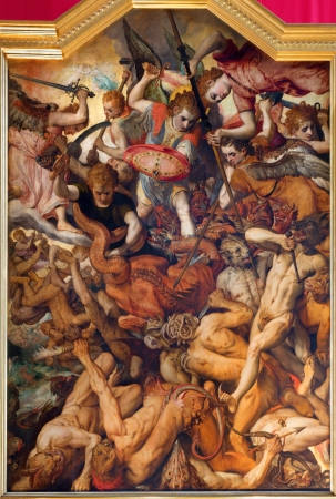frans: ANTWERP, BELGIUM - SEPTEMBER 4: The Fall of the Rebellious Angels by Frans Floris from year 1554 in the cathedral of Our Lady on September 4, 2013 in Antwerp, Belgium Editorial