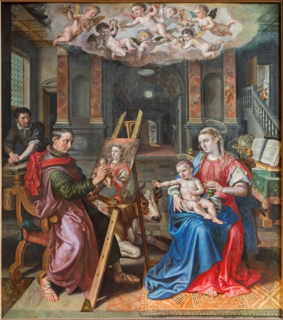 ANTWERP, BELGIUM - SEPTEMBER 4: Saint Luke painting of Madona by Maerten de Vos from year 1602 in the cathedral of Our Lady on September 4, 2013 in Antwerp, Belgium