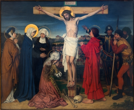 ANTWERP, BELGIUM - SEPTEMBER 5: Crucifixion as part of Seven Sorrows of Virgin cycle by Josef Janssens from years 1903 - 1910 in the cathedral of Our Lady on September 5, 2013 in Antwerp, Belgium 新聞圖片