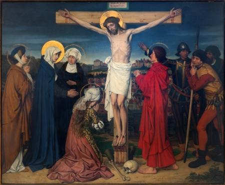 Anversa, Belgio - 5 settembre: Crocifissione nell'ambito dei Sette Dolori della Vergine ciclo di Josef Janssens da anni 1903-1910 nella cattedrale di Nostra Signora, il 5 settembre 2013, Anversa, Belgio Archivio Fotografico - 23581963