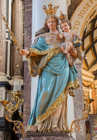 ANTWERP, BELGIUM - SEPTEMBER 5: Baroque carved Madonna in St. Charles Borromeo church on September 5, 2013 in Antwerp, Belgium