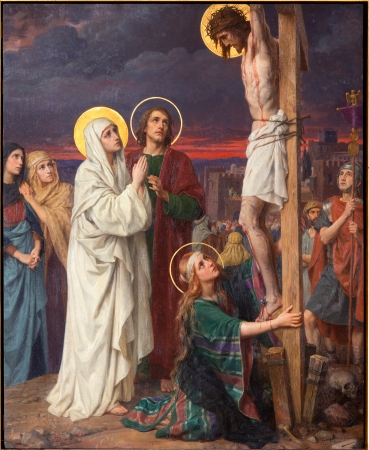 our lady of sorrows: ANTWERP, BELGIUM - SEPTEMBER 5: Paint of Crucifixion as part of Seven Sorrows of Virgin cycle by Josef Janssens from years 1903 - 1910 in the cathedral of Our Lady on September 5, 2013 in Antwerp, Belgium