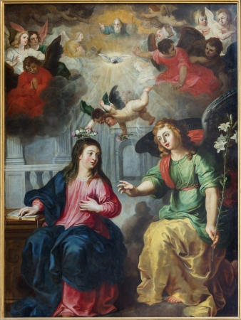 annunciation: ANTWERP, BELGIUM - SEPTEMBER 5: The Annunciation. Paint by Hendrick Van Balen from year 1615 in St. Pauls church (Paulskerk) on September 5, 2013 in Antwerp, Belgium