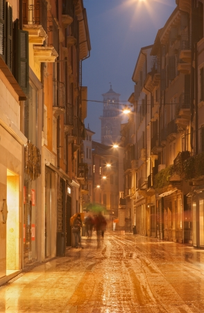 ヴェローナ - ジュゼッペ ・ マッツィーニ冬夕暮れと雨を介して