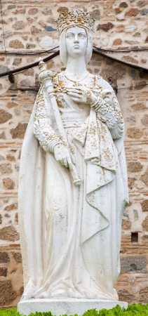 queen isabella: Toledo - Statue of Queen Isabella I of Castile near monastery Monasterio San Juan de los Reyes or Monastery of Saint John of the Kings