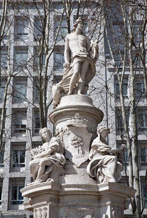 paseo: Madrid - Fountain of Apollo (Fuente de Apolo) from Paseo del Prado street.  Neoclassic fountain was inaugurated in 1803. Main statue by Alfonso Giraldo Bergaz. Editorial
