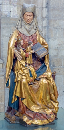 polychrome: LEUVEN - SEPTEMBER 3  Polychrome statue of st  Ann in st  Peters gothic cathedral from early 16  cent  in September 3, 2013 in Leuven, Belgium