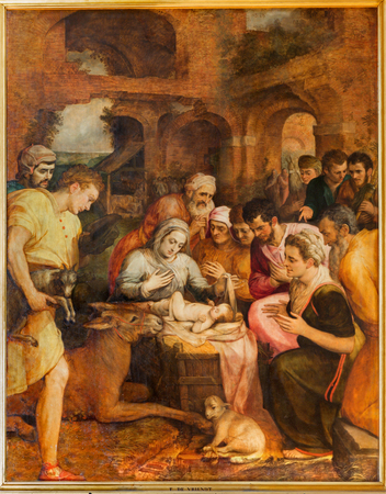 frans: ANTWERP, BELGIUM - SEPTEMBER 4  Adoration of pastores by Frans Floris from year 1568 in the cathedral of Our Lady on September 4, 2013 in Antwerp, Belgium