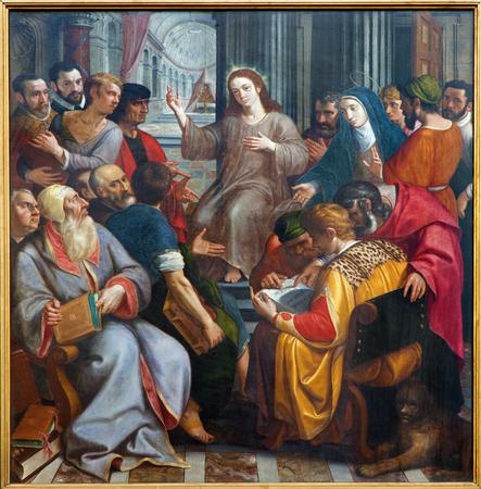 scribes: Anversa, Belgio - 4 Settembre Ges� tra scribi di Frans Francken dal 1587 nella cattedrale di Nostra Signora su 4 settembre 2013 a Anversa, Belgio Editoriali