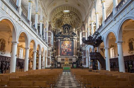 st charles: ANTWERP, BELGIUM - SEPTEMBER 5  Nave of St  Charles Borromeo church on September 5, 2013 in Antwerp, Belgium Editorial